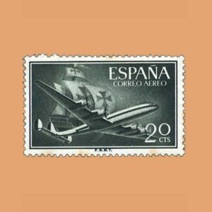 Edifil 1169 Super Constellation y Nao Sello 20cts. 1955 verde bronce