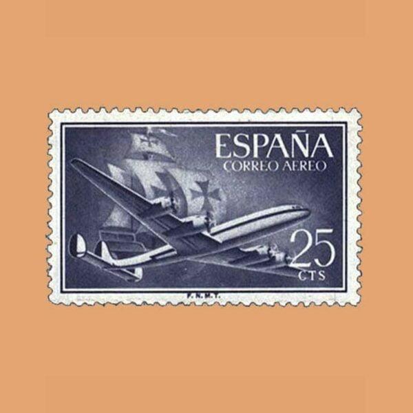 Edifil 1170 Super Constellation y Nao Santa María Sello 25cts. 1955 violeta grisáceo