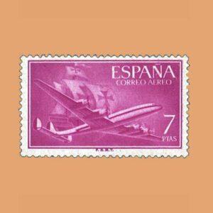 Edifil 1178 Super Constellation y Nao Santa María Sello 7ptas. 1955 lila