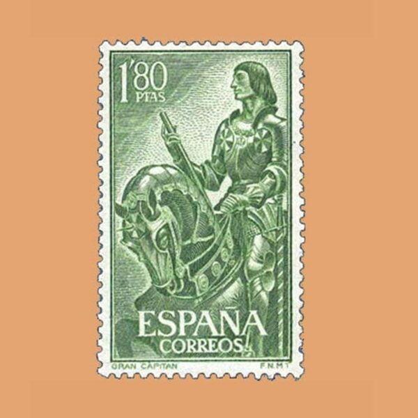 Edifil 1209 Gonzalo Fernández de Córdoba. El Gran Capitán. Sello 1,80ptas. 1958 verde amarillo