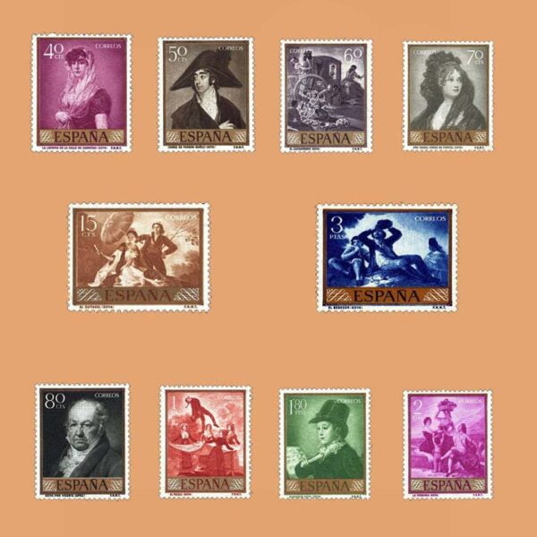 Edifil 1210-1219 Serie Goya. 10 valores. 1958