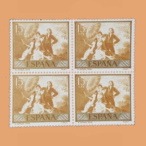 Edifil 1210 Goya. Bloque de 4 Sellos 15cts. 1958. ocre