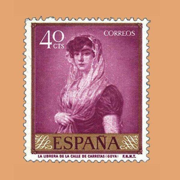 Edifil 1211 Goya. Librera de la calle Carretas. Sello 40cts 1958 malva