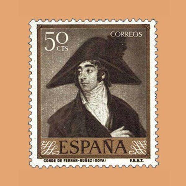 Edifil 1212 Goya. Conde Fernán-Núñez. Sello 50cts 1958 oliva oscuro