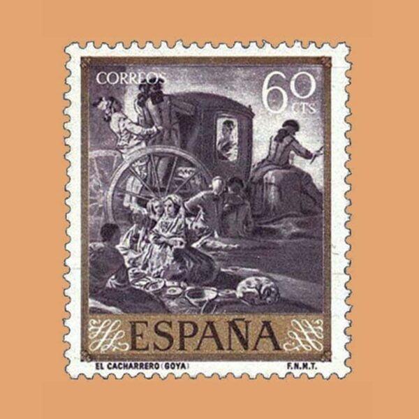 Edifil 1213 Goya. El Cacharrero. Sello 60cts 1958 violeta grisáceo