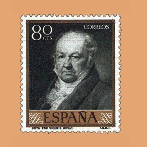 Edifil 1215 Goya por Vicente López. Sello 80cts 1958 verde negruzco