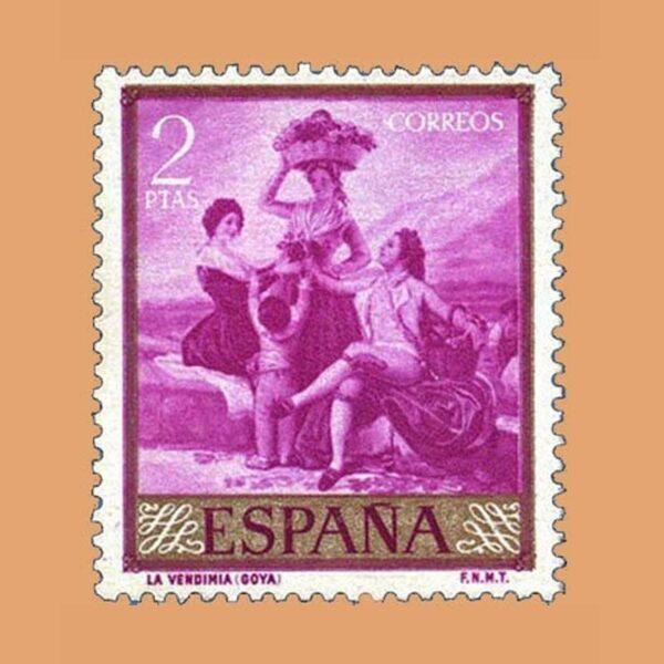 Edifil 1218 Goya. La Vendimia. Sello 2ptas. 1958 malva