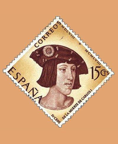 Edifil 1224. IV Centenario de la muerte de Carlos I de España y V de Alemania. Sello 15cts. 1958 castaño y amarillo