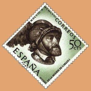 Edifil 1225. Centenario de la muerte de Carlos I de España y V de Alemania. Sello 50cts. 1958 castaño grisáceo y verde