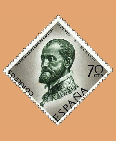 Edifil 1226. Centenario de la muerte de Carlos I de España y V de Alemania. Sello 70cts. 1958 verde y gris