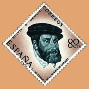 Edifil 1227. Centenario de la muerte de Carlos I de España y V de Alemania. Sello 80cts. 1958 verde y castaño