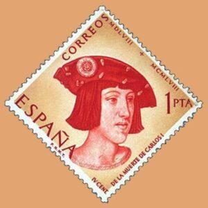 Edifil 1228. Centenario de la muerte de Carlos I de España y V de Alemania. Sello 1pta. 1958 rojo y amarillo
