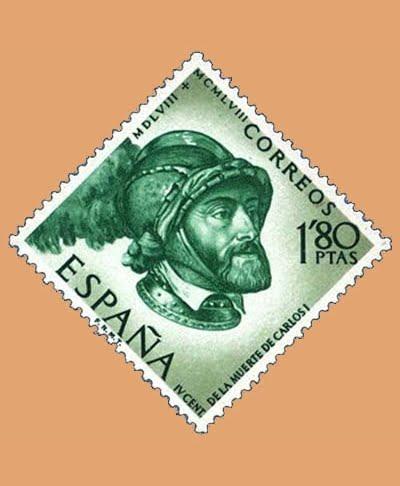 Edifil 1229. Centenario de la muerte de Carlos I de España y V de Alemania. Sello 1,80ptas. 1958 esmeralda y verde