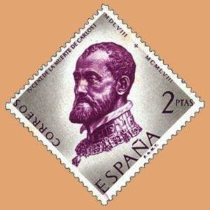 Edifil 1230. Centenario de la muerte de Carlos I de España y V de Alemania. Sello 2ptas. 1958 malva y gris