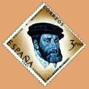 Edifil 1231. Centenario de la muerte de Carlos I de España y V de Alemania. Sello 3ptas. 1958 azul y castaño