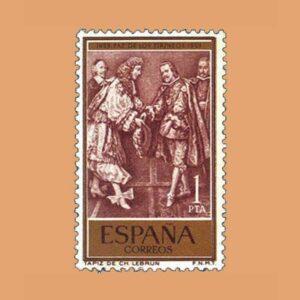 Edifil 1249 III Centenario del Tratado de Paz de los Pirineos. Sello 1pta. 1959 castaño rojizo