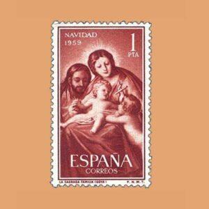 Edifil 1253 Navidad. Sello 1pta. 1959 castaño rojizo