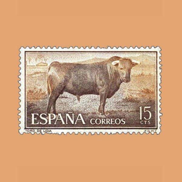 Edifil 1254 Fiesta Nacional: Tauromaquia. Sello 15cts. 1960 castaño claro