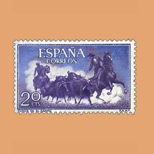 Edifil 1255 Fiesta Nacional: Tauromaquia. Sello 20cts. 1960 violeta y azul