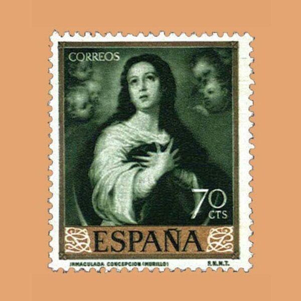 Edifil 1273 Bartolomé Esteban Murillo. Sello 70cts. 1960 verde oscuro