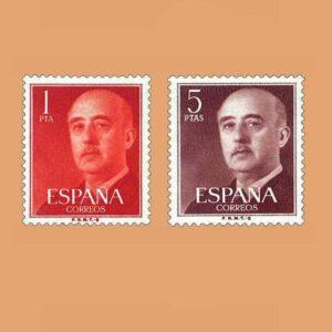 Edifil 1290-1291. Serie General Franco. 1960. 2 valores