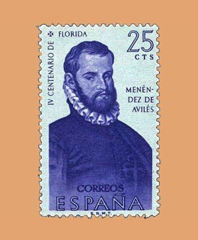 Edifil 1298 Forjadores de América. Sello 25cts. 1960 violeta y azul