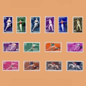 Edifil 1306-1319. Serie Deportes. 1960. 14 valores