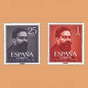 Edifil 1320-1321. Serie I Centenario de nacimiento de Isaac Albéniz. 1960. 2 valores
