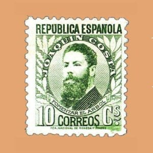 Edifil 656 Personajes Joaquín Costa Sello 10cts. II República 1931 verde claro