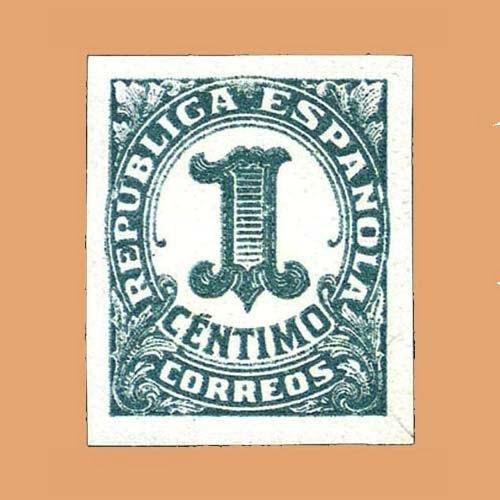 Edifil 677 Cifras Sello 1ct. 1933 verde azulado