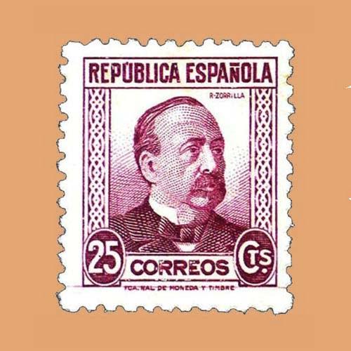 Edifil 685 Personajes Zorrilla Sello 25cts. 1933 carmín