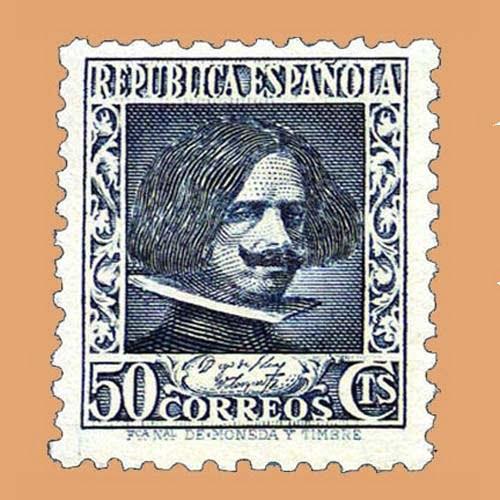 Edifil 738 Cifras y Personajes Velázquez Sello 50cts. 1936 azul