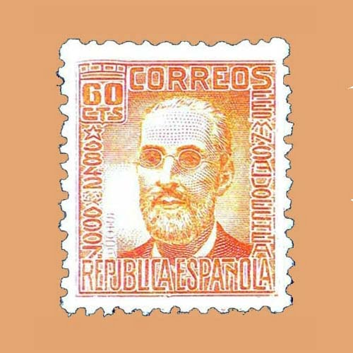 Edifil 740 Cifras y Personajes F. Salvoechea Sello 60cts. 1936 naranja