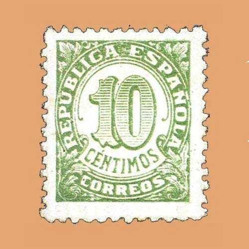 Edifil 746B Cifras Sello 10cts. 1938 verde claro