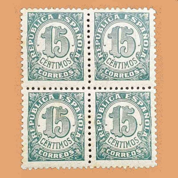 00747B4 Cifras Bloque Sello 15cts. 1938 verde grisáceo