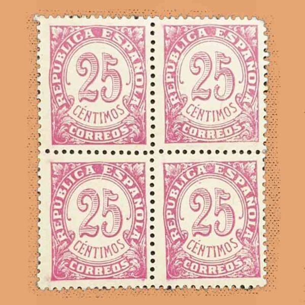 Edifil 749 Cifras Bloque Sello 25cts. 1938 lila rosáceo