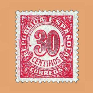 Edifil 750 Cifras Sello 30cts. 1938 rojo