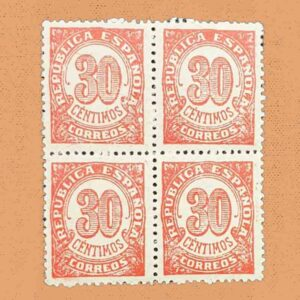 00750B4 Cifras Bloque Sello 30cts. 1938 rojo