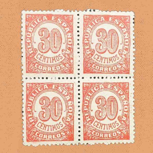 00750B4 Cifras Bloque Sello 30cts. 1938 rojo