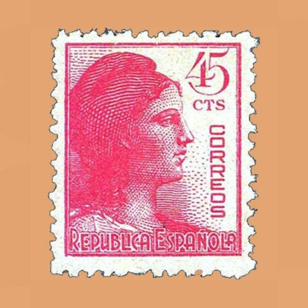 Edifil 752 Alegoría de la República Sello 45cts. 1938 rosa