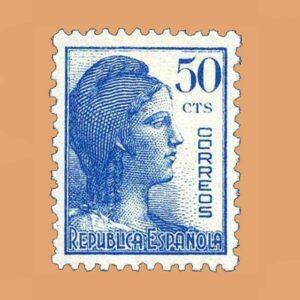 Edifil 753 Alegoría de la República Sello 50cts. 1938 azul