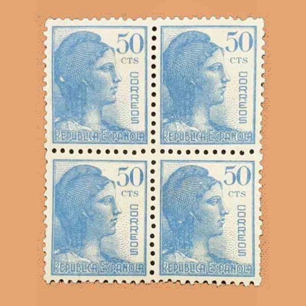 Edifil 753 Alegoría de la República Bloque Sello 50cts. 1938 azul