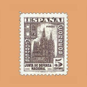 Edifil 804 Junta de Defensa Sello 5cts. 1936 castaño