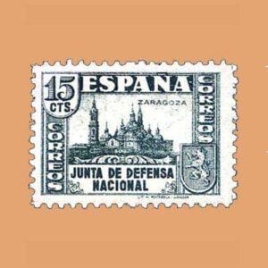 Edifil 806 Junta de Defensa Sello 15cts. 1936 verde gris
