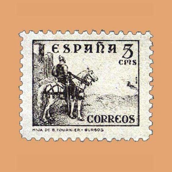 Edifil 816A Cifras Cid e Isabel Sello 5cts. 1937 castaño
