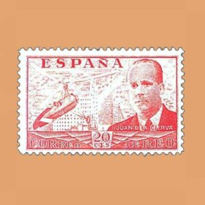 Edifil 880 Juan de La Cierva Sello 20cts. 1939 naranja
