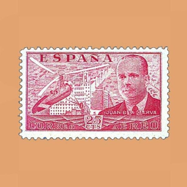 Edifil 881 Juan de La Cierva Sello 25cts. 1939 rojo