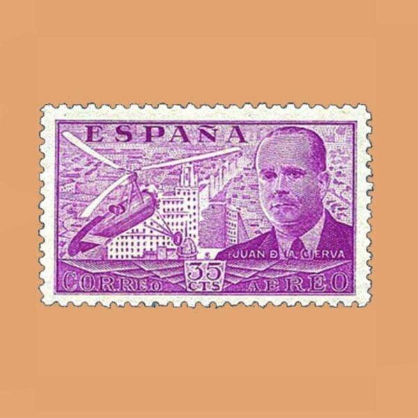 Edifil 882 Juan de La Cierva Sello 35cts. 1939 lila
