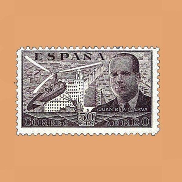 Edifil 883 Juan de La Cierva Sello 50cts. 1939 castaño