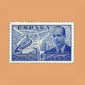 Edifil 884 Juan de La Cierva Sello 1pta. 1939 azul